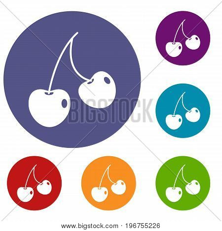 Two cherry berries icons set in flat circle red, blue and green color for web
