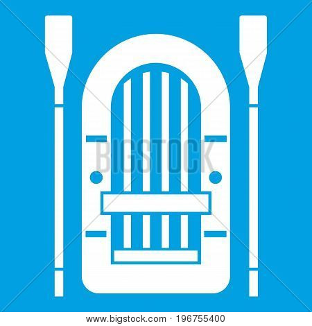 Boat with paddles icon white isolated on blue background vector illustration
