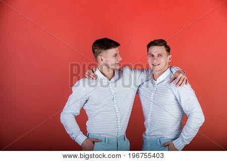 Happy Men Hugging