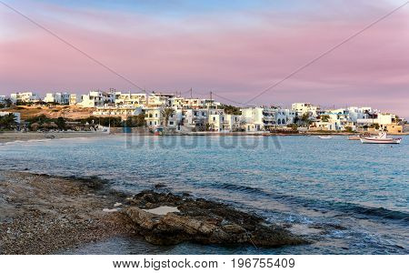 The village of Pano Koufonisi on the small Cyclades, Greece, during a cloudy sunset