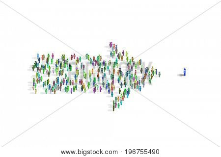 Illustration showing many people in arrow shape - 3d rendering