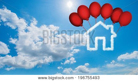 House in the sky made of clouds - 3d rendering