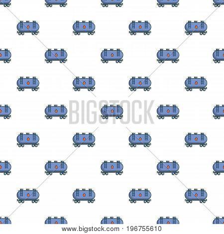 Gasoline railroad tanker pattern seamless repeat in cartoon style vector illustration
