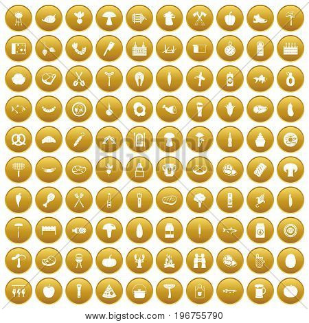 100 barbecue icons set in gold circle isolated on white vector illustration