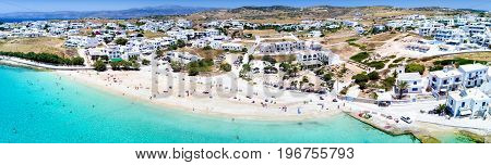 Aerial, panoramic view over the town of Koufonisi, Small Cyclades, Greece