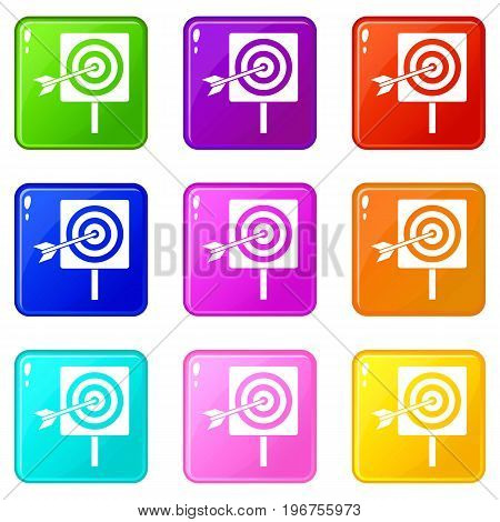 Darts icons of 9 color set isolated vector illustration