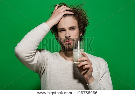 Man Drink Medicine Drug With Water From Glass