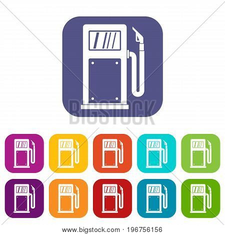 Gasoline pump icons set vector illustration in flat style in colors red, blue, green, and other