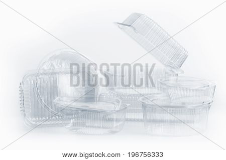 Group of Plastic container for foodstuffs on white background.