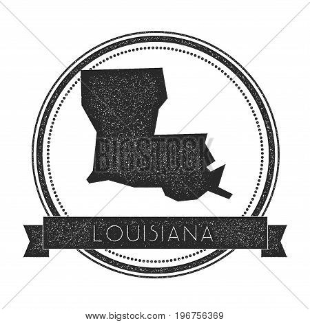 Louisiana Vector Map Stamp. Retro Distressed Insignia With Us State Map. Hipster Round Rubber Stamp