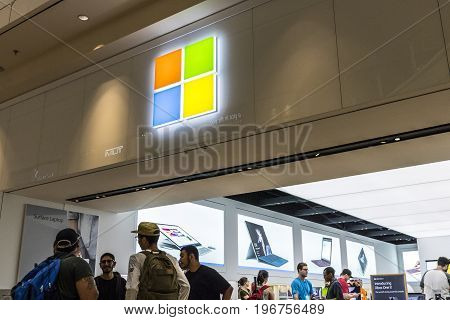 Las Vegas - Circa July 2017: Microsoft Retail Technology Store. Microsoft develops and manufactures Windows and Surface software