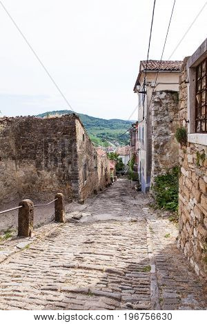 View of typical Motovun stone street Istria. Croatia