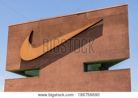 Las Vegas - Circa July 2017: Nike Inc. Swoosh logo and signage. Nike is one of the world's largest suppliers of athletic shoes and apparel