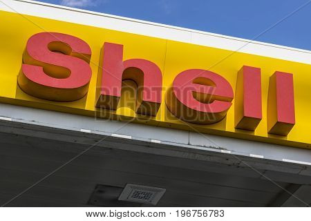 Las Vegas - Circa July 2017: Signage and Logo of Shell Gasoline. Royal Dutch Shell plc is based in The Hague Netherlands