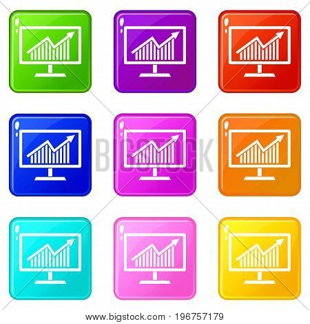 Statistics on monitor icons of 9 color set isolated vector illustration