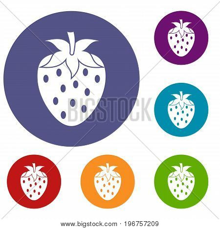 One strawberry berry icons set in flat circle red, blue and green color for web