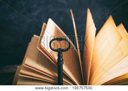 Old Book Detail And A Key On A Wooden Desk