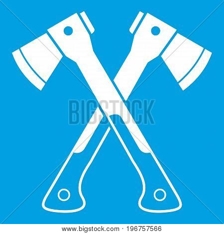Crossed axes icon white isolated on blue background vector illustration