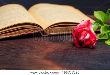Red Rose On A Vintage Book On A Wooden Desk
