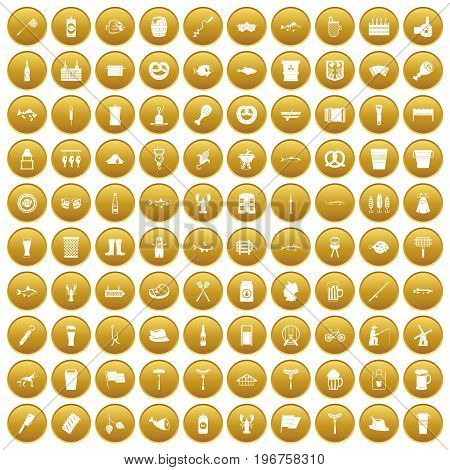 100 beer icons set in gold circle isolated on white vector illustration