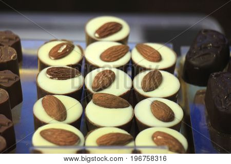 Luxurious Almond Chocolates on display in a confectioner's shop