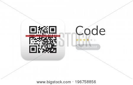 Illustration of QR quick response code application