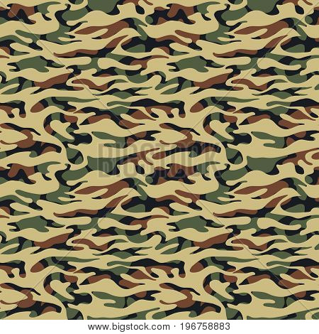 Seamless Camouflage Doodle Pattern Grunge Texture.
