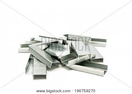 closeup Staples isolated on white background