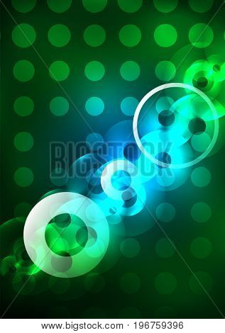 Glowing circles in the dark, futuristic abstract background design template