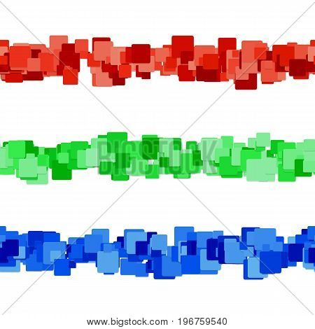 Abstract square pattern page dividing line design set - vector graphic design elements from colored rounded squares with shadow effect
