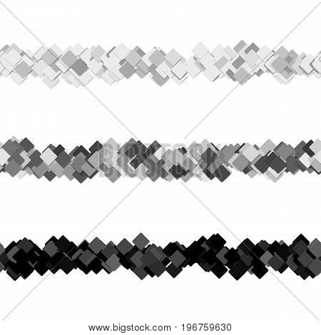 Repeatable random square pattern page separator line design set - vector graphic elements from diagonal rounded squares with shadow effect