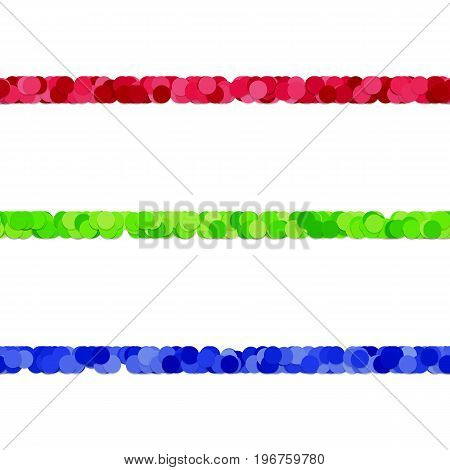 Dot pattern page rule line design set - vector decoration elements from colored circles with shadow effect
