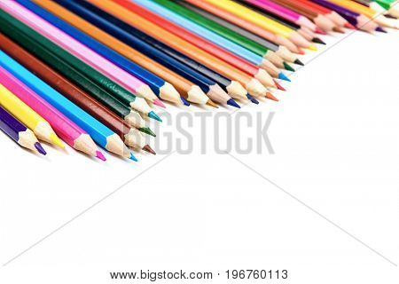 colorful pencils row isolated on white