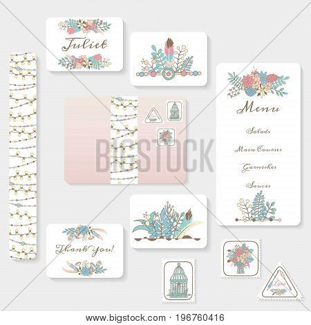 Wedding invitation cards suite with tender garden design. Pastel flowers birdcages garlands and lamps. Boho hippie style. Hand drawn illustrations.
