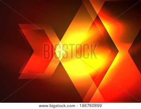 Digital technology glowing arrows, modern geometric abstract background with light effects and place for your message