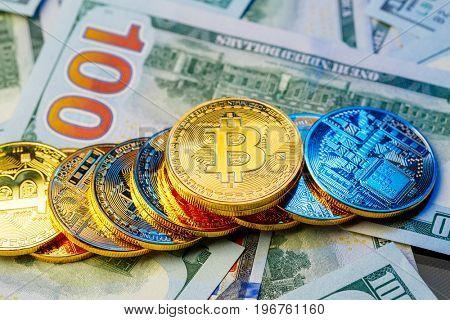 Golden bitcoin. Bitcoin cryptocurrency.