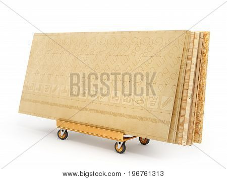 Stack of different boards. OSB plywood and gypsum board. 3d illustration