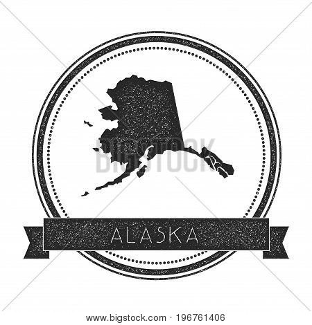 Alaska Vector Map Stamp. Retro Distressed Insignia With Us State Map. Hipster Round Rubber Stamp Wit
