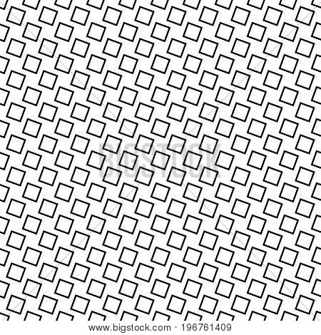 Monochrome seamless abstract square pattern background - black and white geometric halftone vector design from angular squares