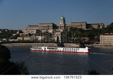 The Royal Palace in Budapest and the floatingDanube Riverin Danube River