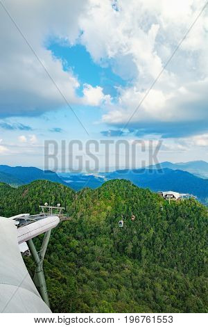 Scenic view of the Middle Station from the Top Station. Langkawi Cable Car also known as Langkawi SkyCab is one of the major attractions in Langkawi, Kedah, Malaysia.