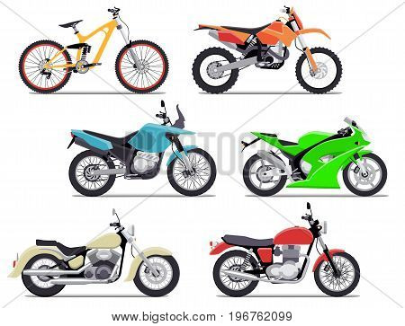 Bike and motorbike flat vector illustration set. Isolation on white background. Flat vector illustration