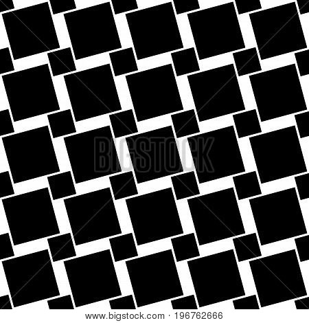 Black and white seamless geometric square pattern - vector background graphic design from angular squares