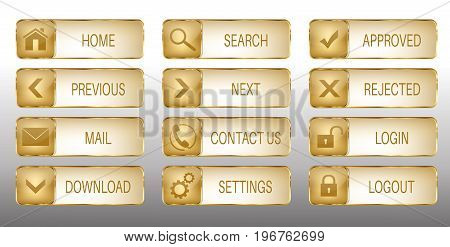 Set of 12 elegant golden web buttons with icons: home, search, previous, next, mail, contact us, download, settings, approved, rejected, login, logout.