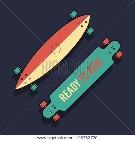 Vector illustration Longboards of different shapes in flat style. Isolated Longboards on blue background.