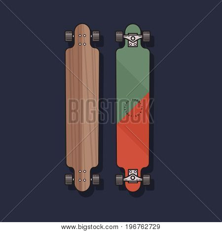 Vector illustration of Longboard in flat style. Longboard isolated on blue background.