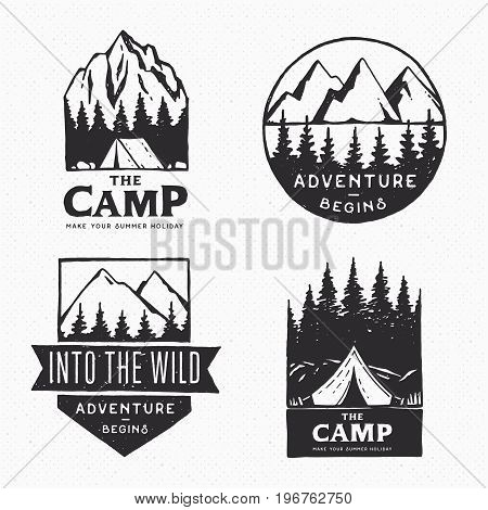 Vintage labels, hand drawn on the theme of Hiking, Mountaineering, Hunting. Outdoor recreation, adventure in the mountains. Vector set of logos.