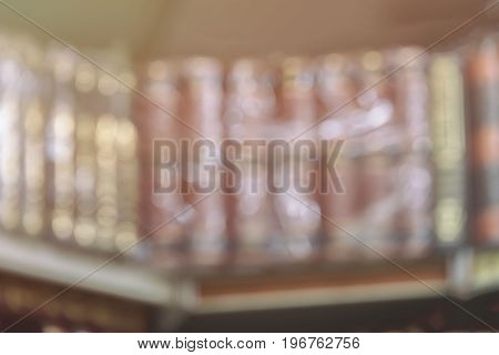 Abstract blur background with imaginative literature, fiction on bookshelf, vintage picture