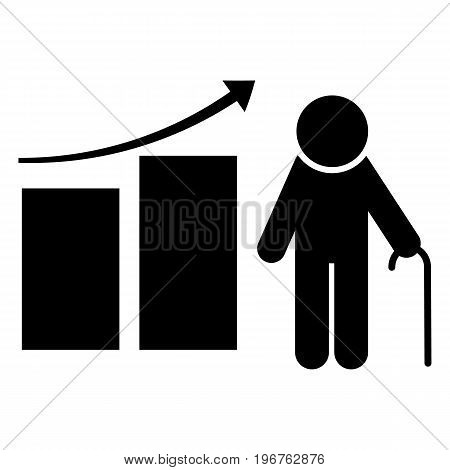 Pension fund icon. Retirement plan. Finance investment and saving silhouette vector illustration