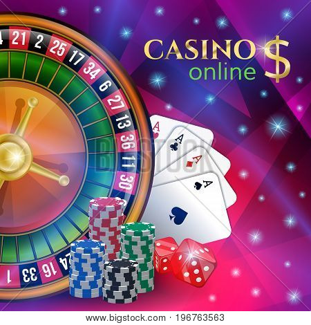 Casino banner with gambling elements on purple background.